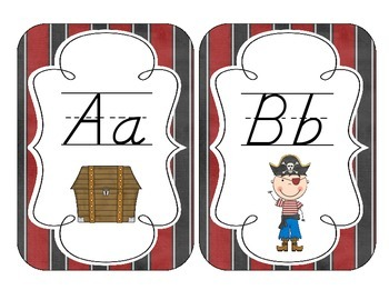 Pirate Ship Alphabet Cards: D'Nealian Set