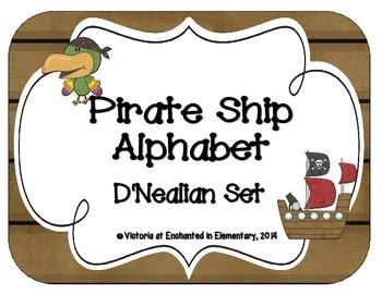 Pirate Ship Alphabet Cards: D'Nealian Set