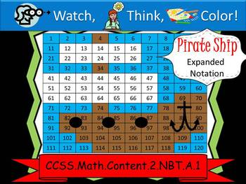 Pirate Ship Expanded Notation - Watch, Think, Color! CCSS.