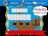 Pirate Ship Hundreds Chart to 120 - Watch, Think, Color! CCSS.1.NBT.A.1