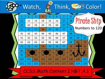 Pirate Ship Hundreds Chart to 120 - Watch, Think, Color! C