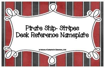Pirate Ship Stripes Desk Reference Nameplates