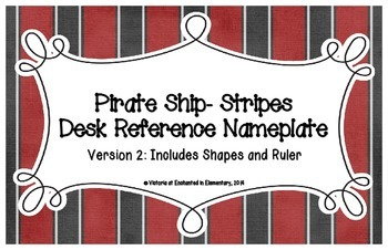 Pirate Ship Stripes Desk Reference Nameplates Version 2