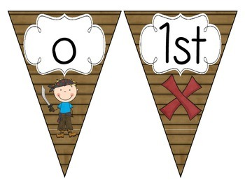 Pirate Ship Welcome Pennant: Wood Set
