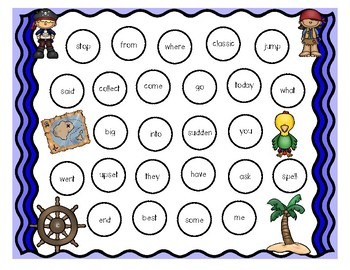 Pirate Sight Word Game (Battleship-style) for 2nd Grade Saxon Phonics