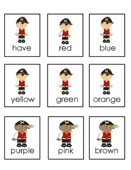 Pirate Sight Word Game! Kindergarten Harcourt words plus numbers and Colors!