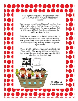 Pirate Sight Word Puzzles - Dolch Word List 1