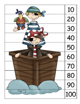 Pirate Skip count by 10s puzzles