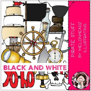 Pirate Stuff clip art - BLACK AND WHITE - by Melonheadz