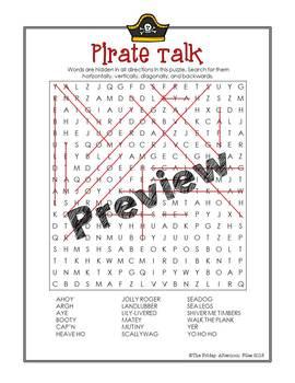 Pirate Talk Word Search