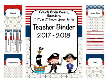Pirate Teacher Binder 2017-2018 (Covers, Spines, Forms & Calendars) Editable