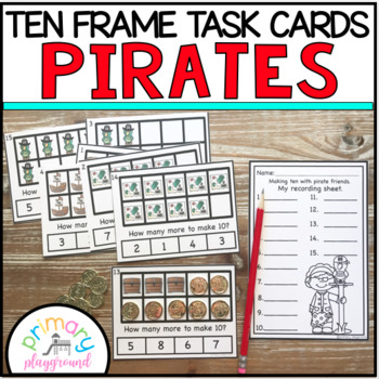 Pirate Ten Frame Task Cards Making Ten with Pirate Friends Center