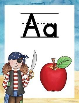 Pirate Theme Alphabet Posters
