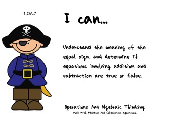 Pirate Theme 1st grade math Common Core Posters first Grade Standards