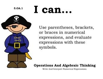 Pirate Theme 5th grade math Common Core Posters Fifth Grade Standards