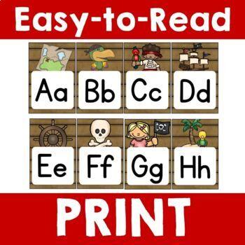 Pirate Theme:  Alphabet & Number Banner (Cursive & Print)