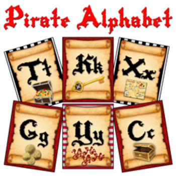 """Pirate Theme Alphabet Posters (Small) :: A - Z (4x5"""" Cards, 2 per page)"""