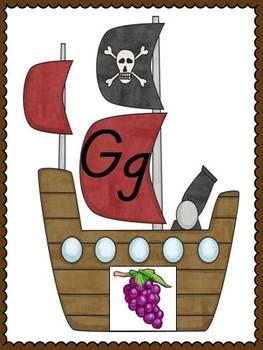 Ahoy, Maties! Pirate Theme Alphabet Posters, D'Nealian Font