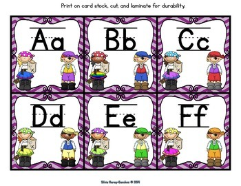 Pirate Theme Alphabet and Word Wall Letter Cards