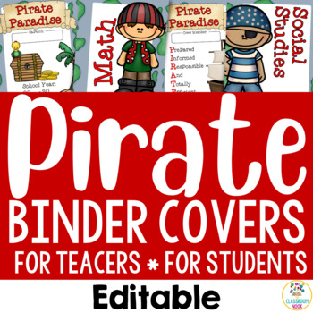 Pirate Theme:  Binder Covers (Editable)