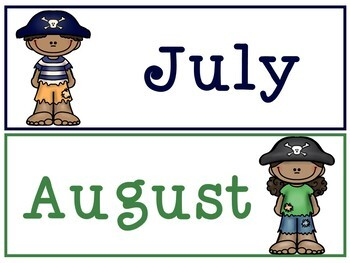 Pirate Theme Calendar Cards - Months and Dates