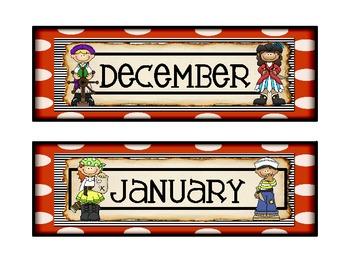Pirate Theme Calendar Months Version 2