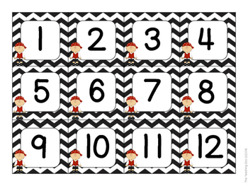 Pirate Theme Calendar Number Cards