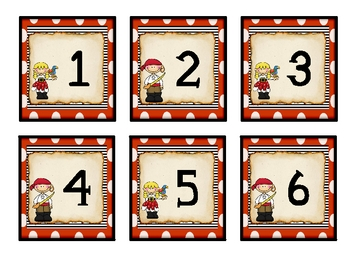Pirate Theme Calendar Numbers