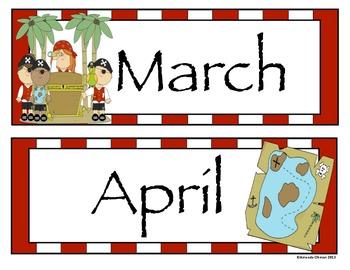 Pirate Theme - Calendar Pieces