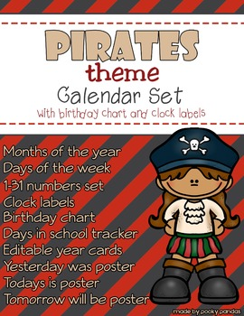 Pirate Theme - Calendar Set - Classroom Decor