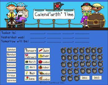 Pirate Theme Calendar for the Smart Board
