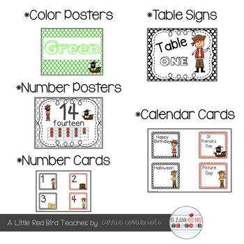 Pirate Theme Classroom Decor - Red and Black Theme {Editable}