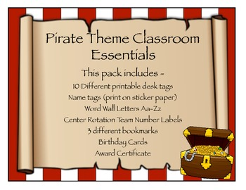 Pirate Theme Classroom Essentials  {Starter Pack}