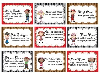 Pirate Theme - Classroom Reward Cards