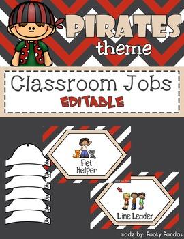 Pirate Theme - Editable Classroom jobs - Classroom Decor