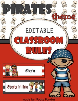 Pirate Theme - Editable Classroom rules - Classroom Decor