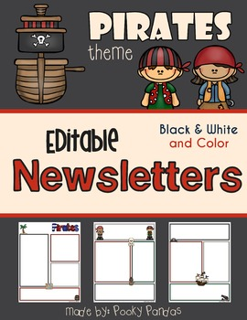Pirate Theme - Editable Newsletters BW and Color
