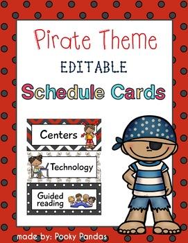 Pirate Theme - Editable Schedule Cards- Classroom Decor