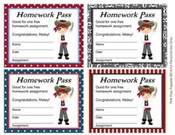 Pirate Theme Homework Passes