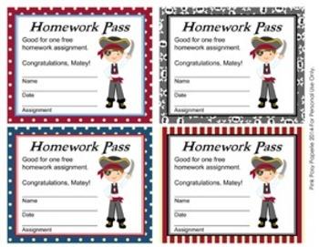Pirate Theme Homework Passes