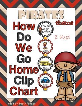 Pirate Theme - How Do We Go Home Clip Chart - Classroom Decor