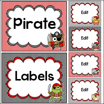 Pirate Theme Labels