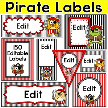 Pirate Theme Labels for Supply Bins, Posters, Binder Covers, Signs etc
