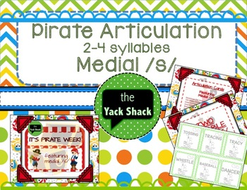 Pirate Theme Medial /s/ Articulation Cards 2-4 syllables