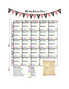 Pirate Theme - Monthly Behavior Chart