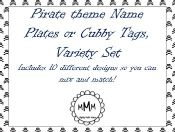 Pirate Theme Name Plates, Desk Tags, Cubby Tags - Variety Set