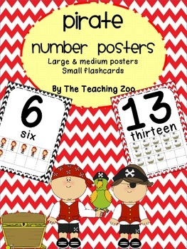 Pirate Theme Number Posters 0-20 - Large, Small & Flashcards