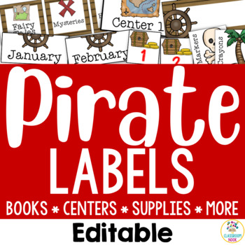 Pirate Theme: Organization Cards & Labels (Editable)