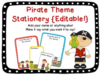 Pirate Theme Stationery {Editable!}