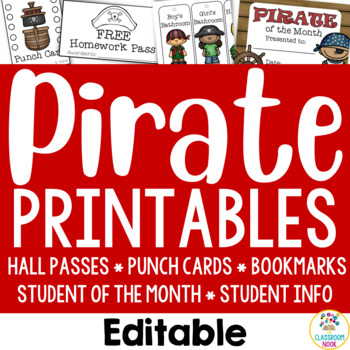 Pirate Theme: Student Essentials (punch cards, HW pass, hall passes and more!)